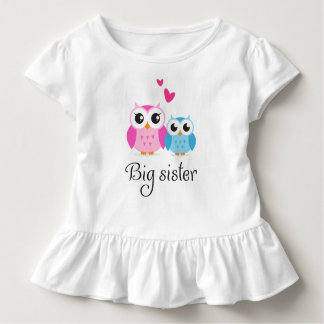 Cute owls big sister little brother cartoon toddler t-shirt