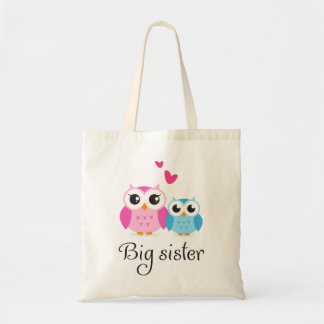 Cute owls big sister little brother cartoon tote bag