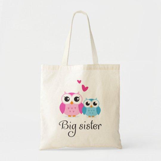 Cute owls big sister little brother cartoon tote bag
