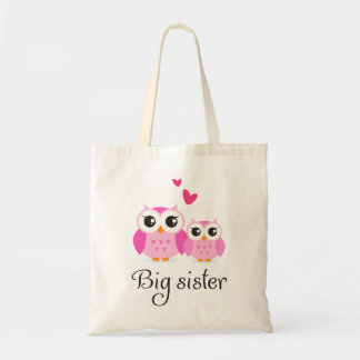 Cute owls big sister little sister cartoon canvas bag