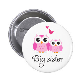Cute owls big sister little sister cartoon 2 inch round button