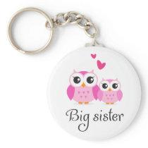 Cute owls big sister little sister cartoon keychain