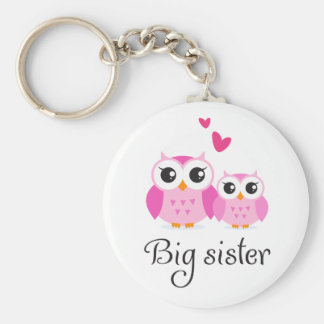 Cute owls big sister little sister cartoon keychain