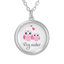 Cute owls big sister little sister cartoon silver plated necklace