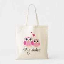 Cute owls big sister little sister cartoon tote bag