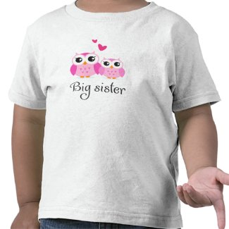 Cute owls big sister little sister cartoon tshirt