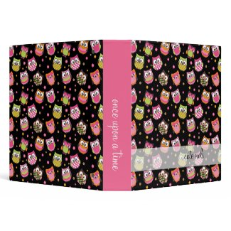 Cute Owls Black Memories Binder binder