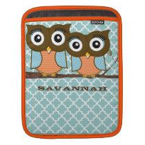 Cute Owls Blue and Orange iPad Sleeve