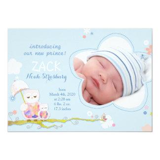 Cute Owls Blue Baby Boy Photo Birth Announcements