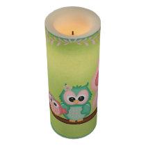 Cute Owls Branch Birds Mint Green Pink Flameless Candle