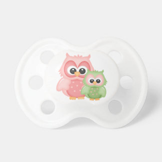 Cute Owls Branch Birds Mint Green Pink Pacifier