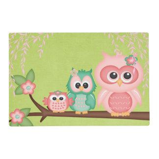 Cute Owls Branch Birds Mint Green Pink Placemat