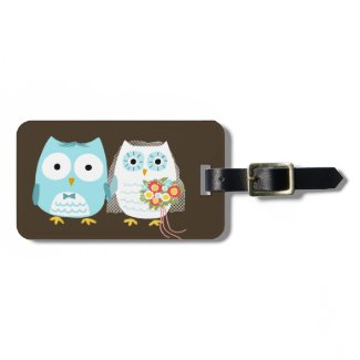 Cute Owls Bride and Groom with Customizable Text Tag For Luggage