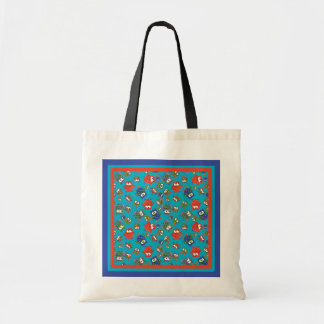 Cute Owls Budget Tote Bag, Red, Blue, Green