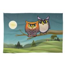 Cute Owls Cartoon Hand Towels