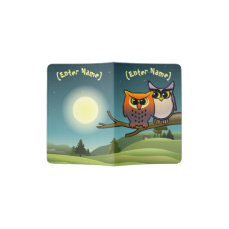 Cute Owls Cartoon Passport Holder