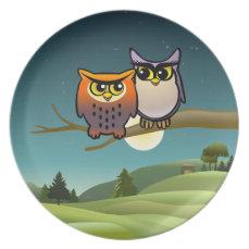 Cute Owls Cartoon Plate