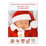 Cute Owls Christmas Card Invites