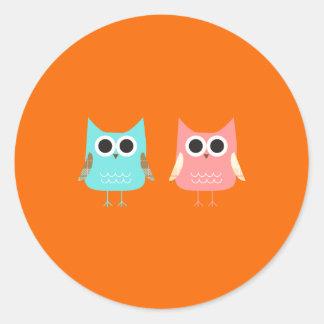 Cute Owls Classic Round Sticker