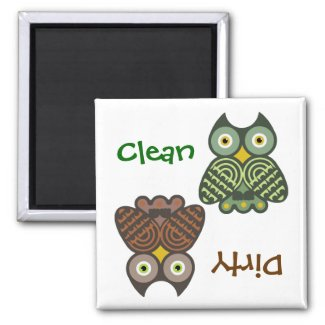 Cute Owls Clean Dirty Dishwasher Magnet zazzle_magnet
