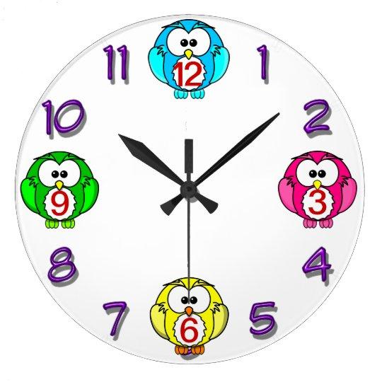 cute owls clock neon blue, pink, green ,yellow