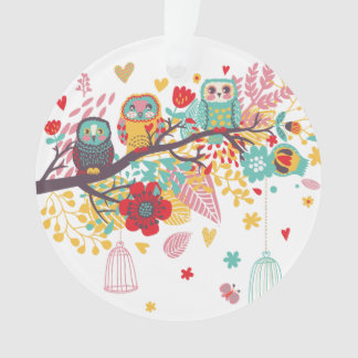 Cute Owls colourful floral hearts background
