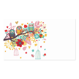 Cute Owls colourful floral hearts background Double-Sided Standard Business Cards (Pack Of 100)