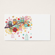 Cute Owls Colourful Floral Hearts Background Business Card at Zazzle