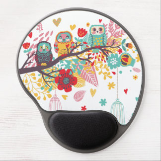 Cute Owls colourful floral hearts background Gel Mouse Mat