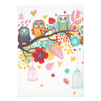 Cute Owls colourful floral hearts background Custom Invite