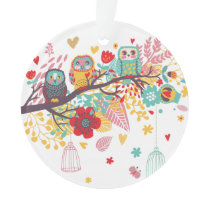 Cute Owls colourful floral hearts background Ornament