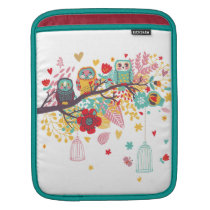 Cute Owls colourful floral hearts background Sleeve For iPads