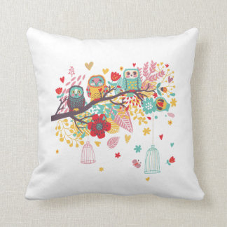 Cute Owls colourful floral hearts background Throw Pillow