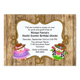 """Cute Owls Country Western Birthday Invitation 5"""" X 7"""" Invitation Card"""