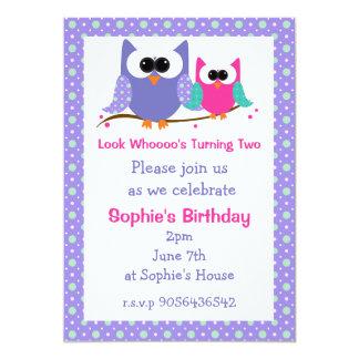 Cute Owls Custom Kids Birthday Party Card