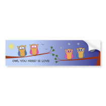 Cute owls custom text day night bumper sticker