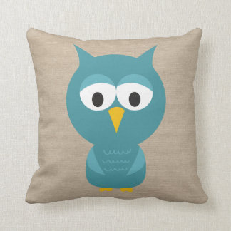 Cute Owls - Different Owl on Back - Faux Burlap Pillows