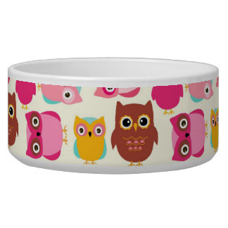 Cute Owls Dog Bowl