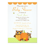 Cute Owls Fall Themed Baby Shower Invitation
