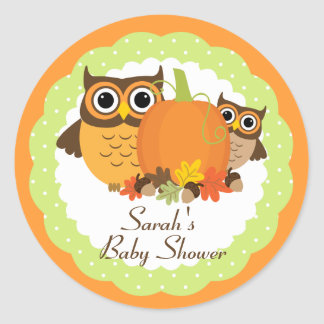 Cute Owls Fall Themed Baby Shower Stickers