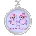Cute owls, fashion, name necklace
