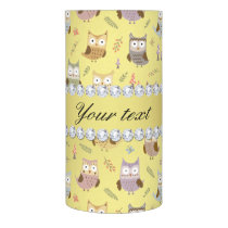 Cute Owls Faux Gold Foil Bling Diamonds Flameless Candle