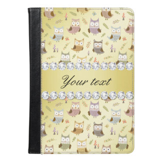 Cute Owls Faux Gold Foil Bling Diamonds iPad Air Case