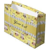 Cute Owls Faux Gold Foil Bling Diamonds Large Gift Bag