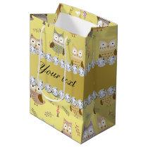 Cute Owls Faux Gold Foil Bling Diamonds Medium Gift Bag