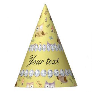 Cute Owls Faux Gold Foil Bling Diamonds Party Hat
