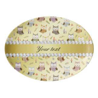 Cute Owls Faux Gold Foil Bling Diamonds Porcelain Serving Platter