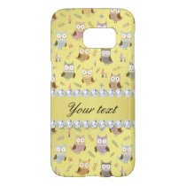 Cute Owls Faux Gold Foil Bling Diamonds Samsung Galaxy S7 Case