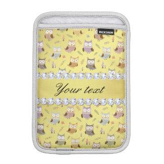 Cute Owls Faux Gold Foil Bling Diamonds Sleeve For iPad Mini