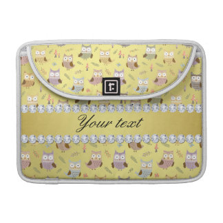 Cute Owls Faux Gold Foil Bling Diamonds Sleeve For MacBook Pro
